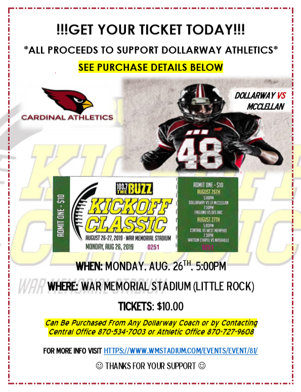 KICKOFF CLASSIC--SUPPORT CARDINAL ATHLETICS