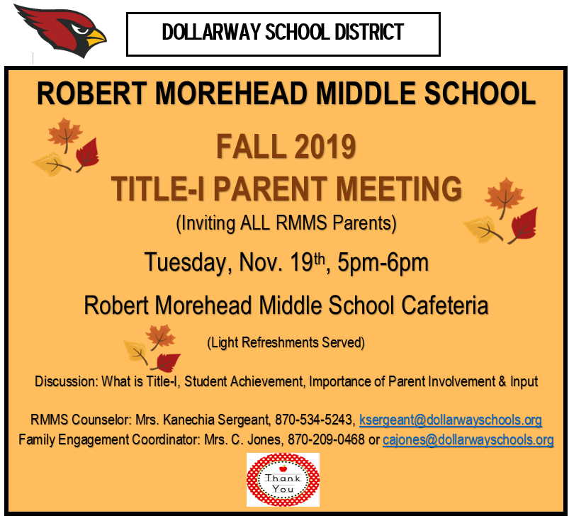 RMMS FALL TITLE-I PARENT MEETING