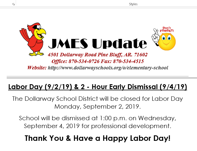 CLOSED LABOR DAY (9/2/19) & EARLY OUT (9/4/19)