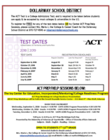 ACT TEST & ACT PREP/HELP SESSION DATES