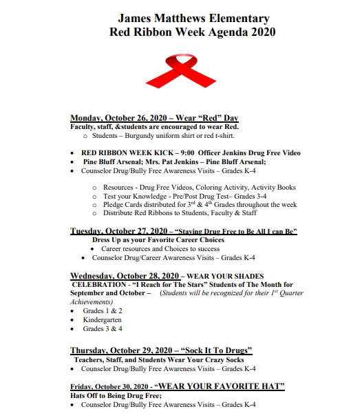 RED RIBBON WEEK AGENDA